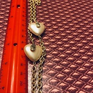 LIZ CLAIBORNE 2 WT PUFFY HEARTS ON CHAIN NECKLACE